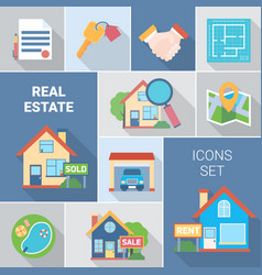 Real estate and agency icons set vector