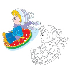 Child with an inflatable snow tube vector