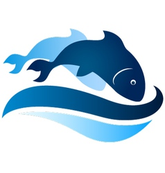 Fish symbol on waves vector
