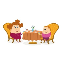 Mother and son near table isolated vector