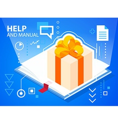 Bright help book and gift box with bow on bl vector