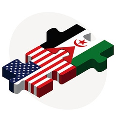 Usa and western sahara flags in puzzle vector
