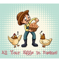 All eggs in basket vector