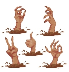 Set of zombie hands for Halloween Party vector image