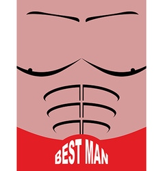 Best man greeting card man sports figure pectoral vector