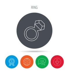 Ring with diamond icon jewellery sign vector