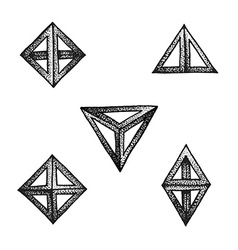 Hand drawn dotted style polyhedron set vector