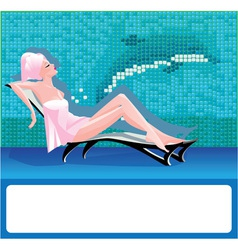 Woman in spa center vector