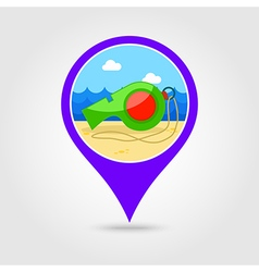 Whistle pin map icon summer vacation vector