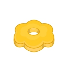 Cookie flower shaped icon cartoon style vector