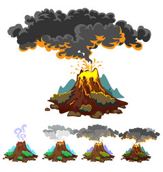 a set of volcanoes of varying degrees of eruption vector image