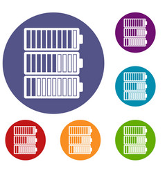 battery indicators icons set vector image vector image