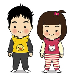 boy and girl cartoon vector image