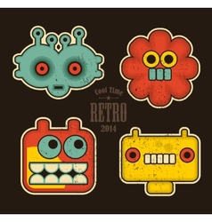 Cartoon robots and monsters faces in color vector image vector image