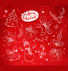 Christmas objects on festive red background vector