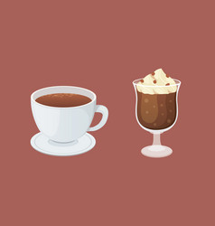 coffee and sweet dessert isolated vector image