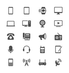 Communication device glyph icons vector
