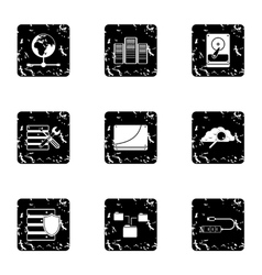 Computer repair icons set grunge style vector