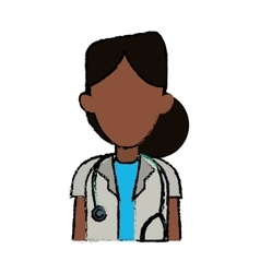 Doctor woman afro medicine science help vector