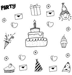 Element kids party doodle vector