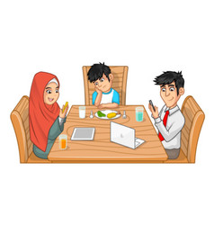 Family Eat Together Parents are Busy with Gadget vector image vector image