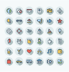 flat color thin line icons set with travel vector image vector image