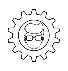 Gear frame male faceless glasses vector