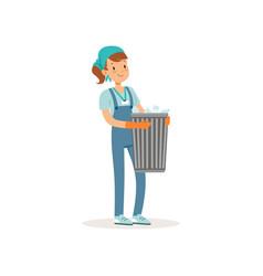 Girl holding basket with plastic bottles cartoon vector