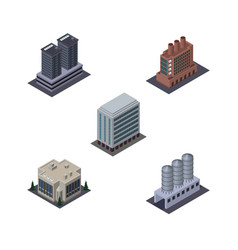 Isometric urban set of company office water vector