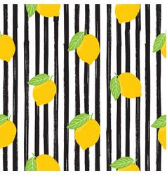 lemon hand drawn sketch striped seamless pattern vector image