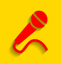 microphone sign red icon vector image vector image