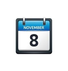 November 8 Calendar icon flat vector image vector image