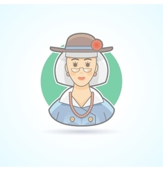 Old lady elderly woman icon vector