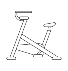 Outline stationary bicycle machine gym sport vector