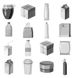 Package container icons set gray monochrome style vector