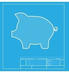 Pig money bank sign white section of icon on vector