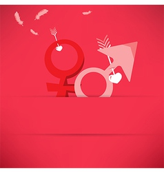 Red valentines day background with male and female vector