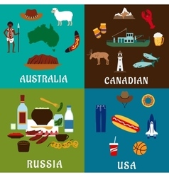 Russia canada usa and australia travel icons vector