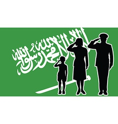 Saudi arabia soldier family salute vector