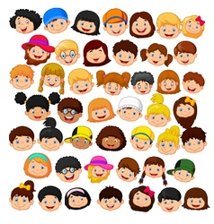 Set of cartoon children head vector image vector image