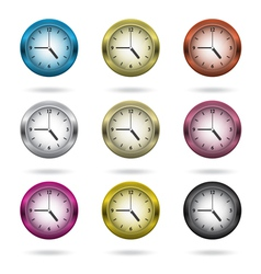 Set of colorful clock icon vector image vector image
