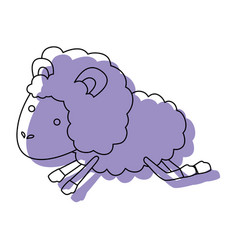 Sheep animal jumping purple watercolor silhouette vector