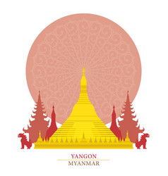 shwedagon yangon myanmar with decoration vector image vector image