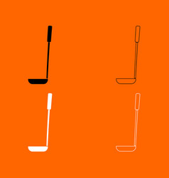 Soup ladle black and white set icon vector
