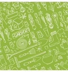Spring garden doodlesColored seamless pattern vector image
