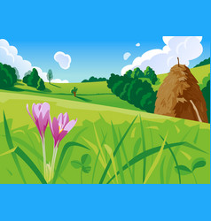summer landscape with a haystack vector image vector image