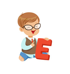 Toddler boy doing speech game exercises on letter vector
