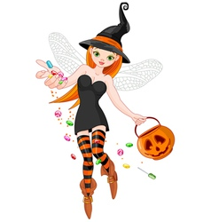 Trick or treating witch vector