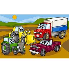 Vehicles machines group cartoon vector