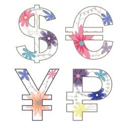 vintage money symbols vector image vector image
